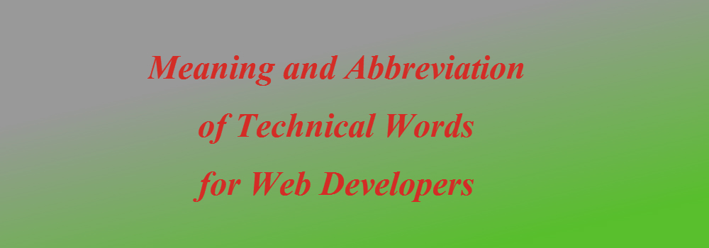 technical wordsfor web developers